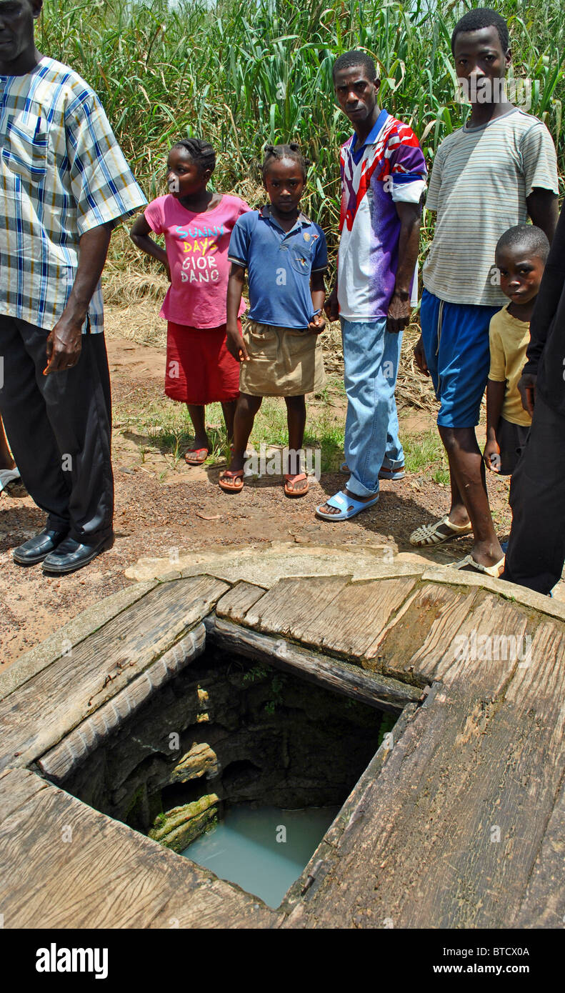 Contaminated well in Peacetown (Nicla Camp), Ivory Coast, West Africa - Stock Image