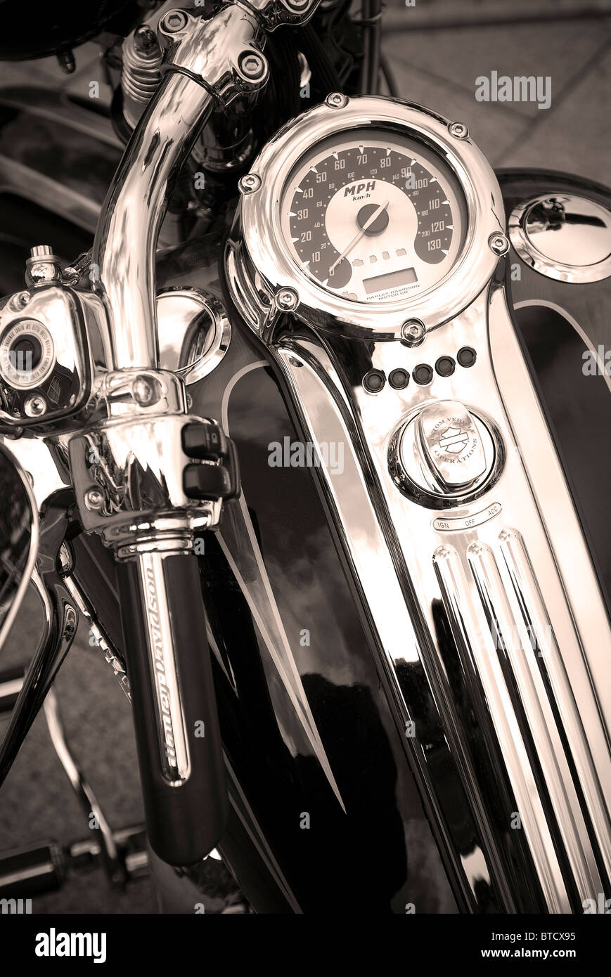close up of a harley davidson bike - Stock Image