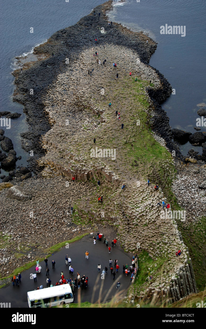 view of the Giants Causeway, County Antrim, Northern Ireland - Stock Image