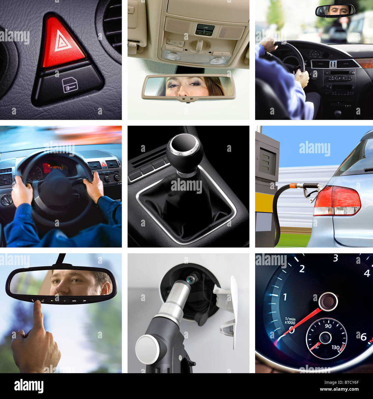 collage of car interior details and transport attributes - Stock Image