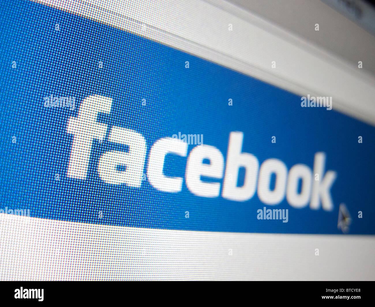 Screenshot from homepage of Facebook social nework website - Stock Image