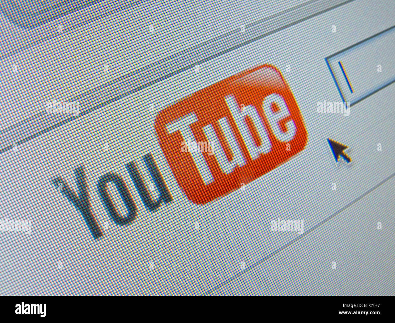 Screenshot from homepage of Youtube  online video sharing website - Stock Image