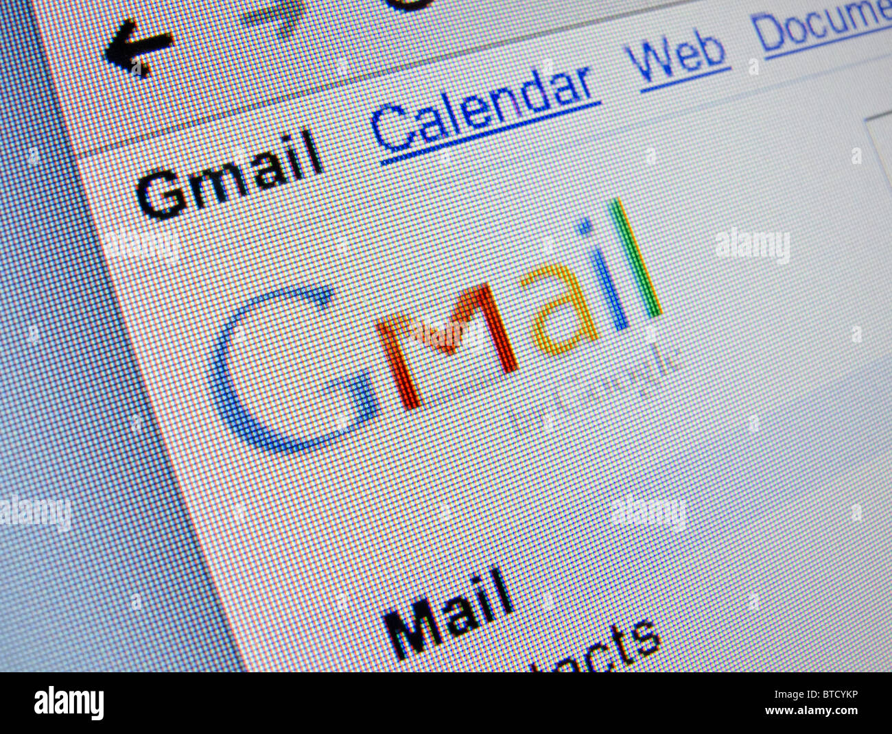 Screenshot from homepage of Google Mail of Gmail website - Stock Image