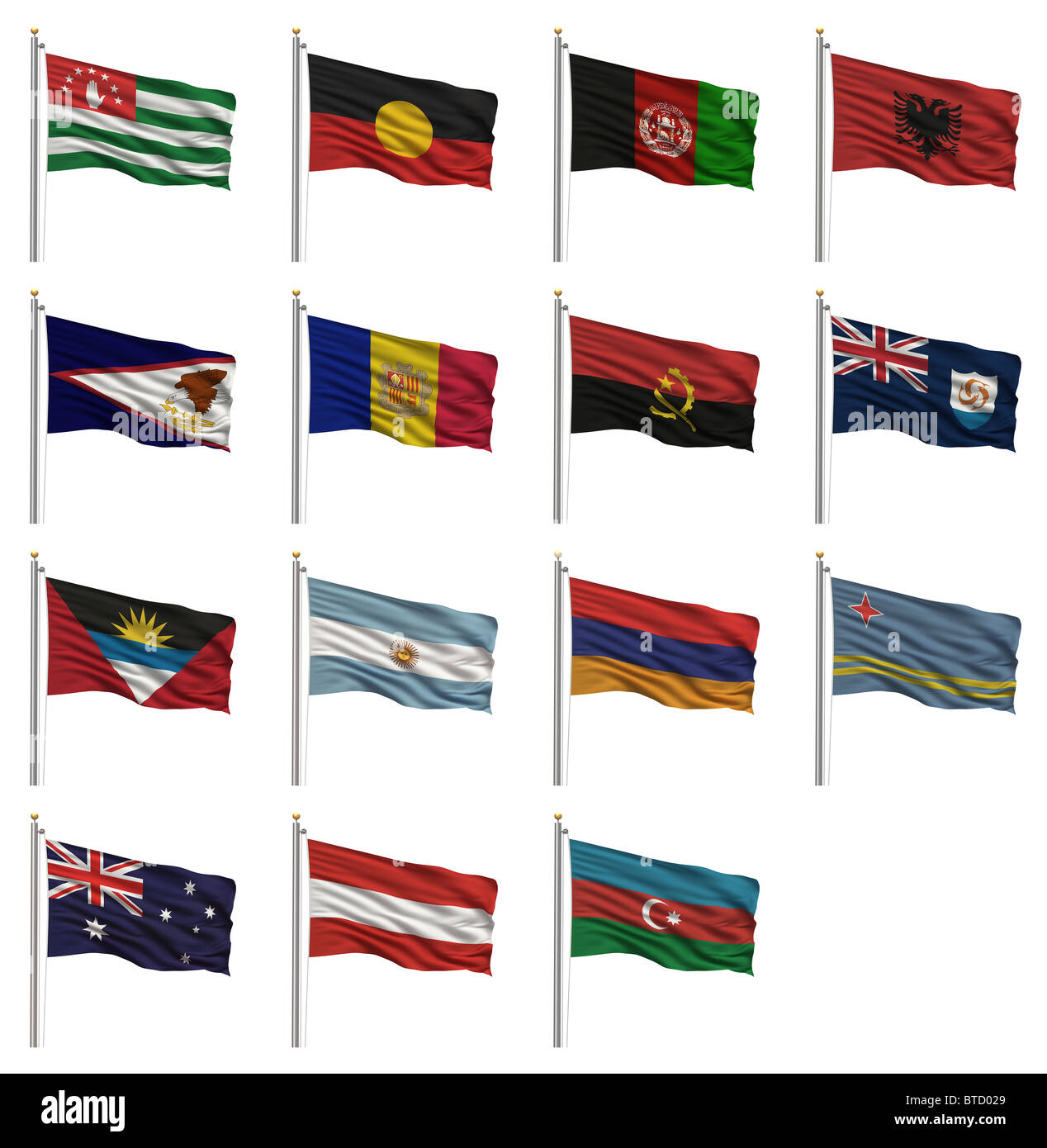 National flags starting with the letter A - Stock Image