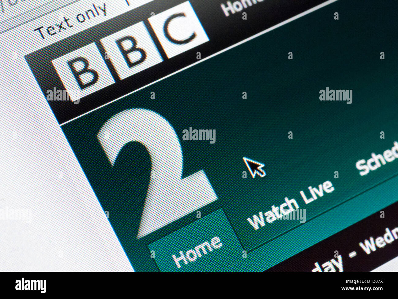 Detail of screenshot from website of BBC Two television channel homepage - Stock Image