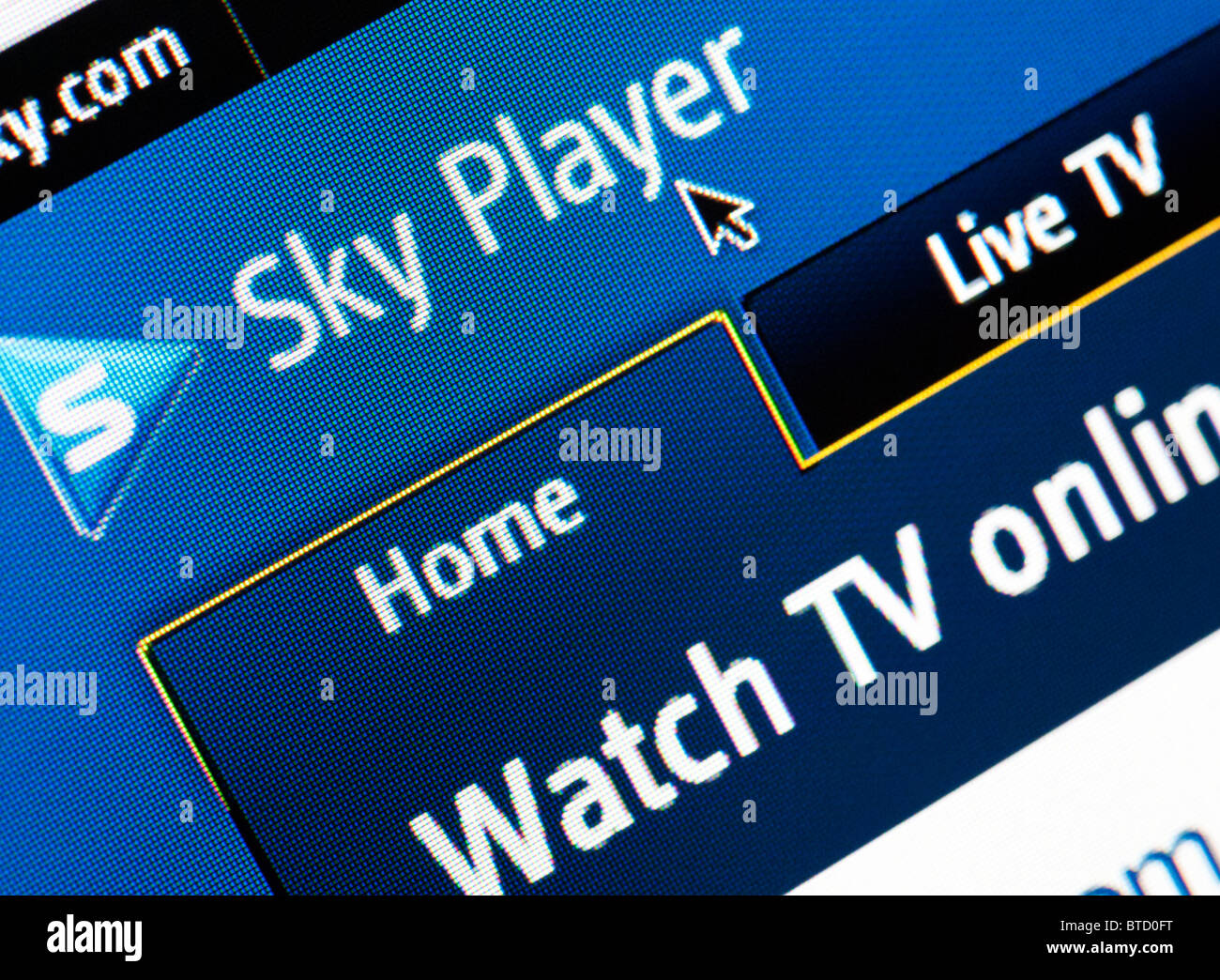 Detail of screenshot from website of Sky TV Player - Stock Image