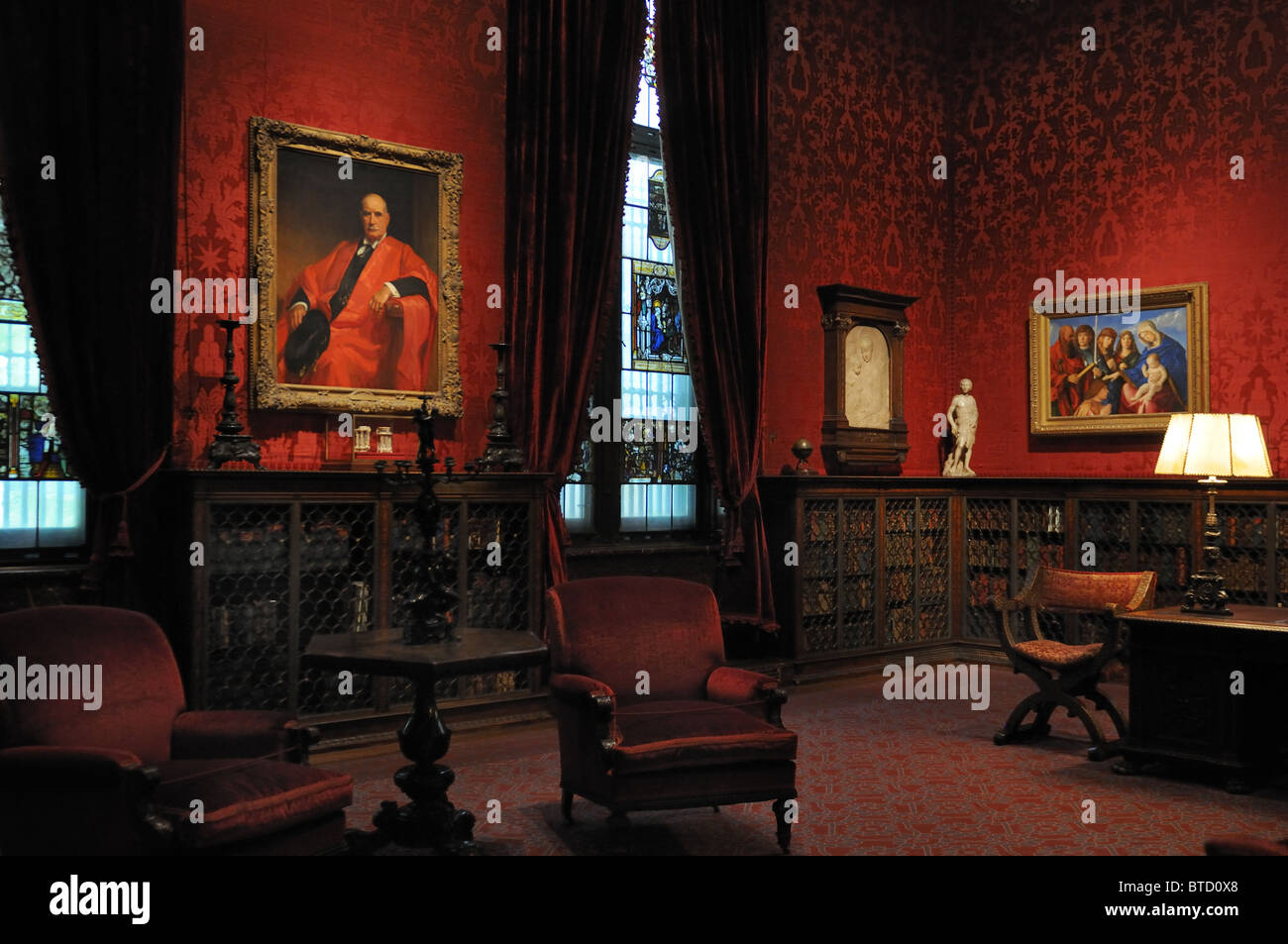 The West Room of the Morgan Library & Museum was used by financier Pierpont Morgan (1837-1913) as his study. - Stock Image