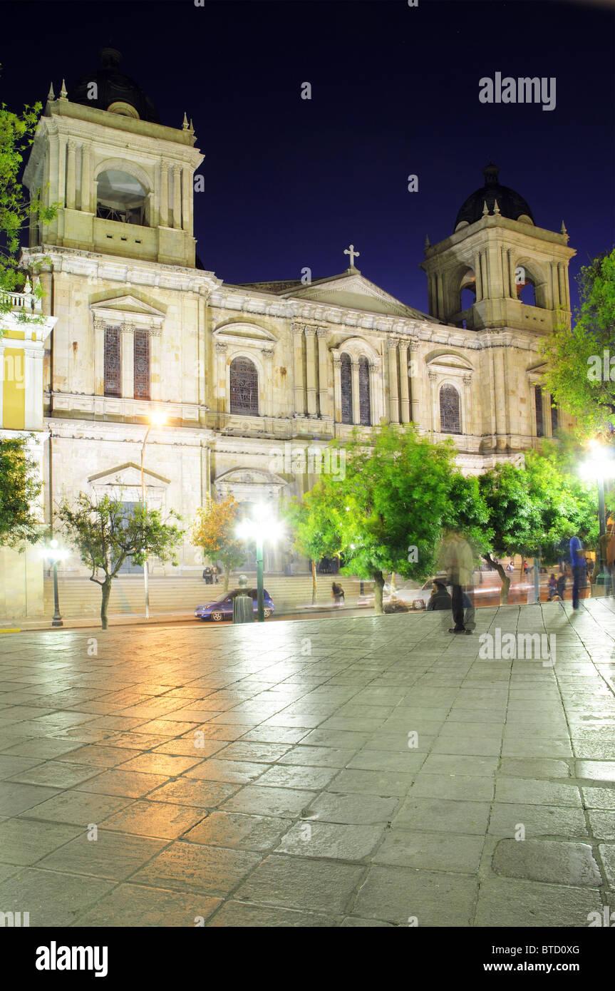 Plaza Murillo in La Paz, Bolivia at night - Stock Image
