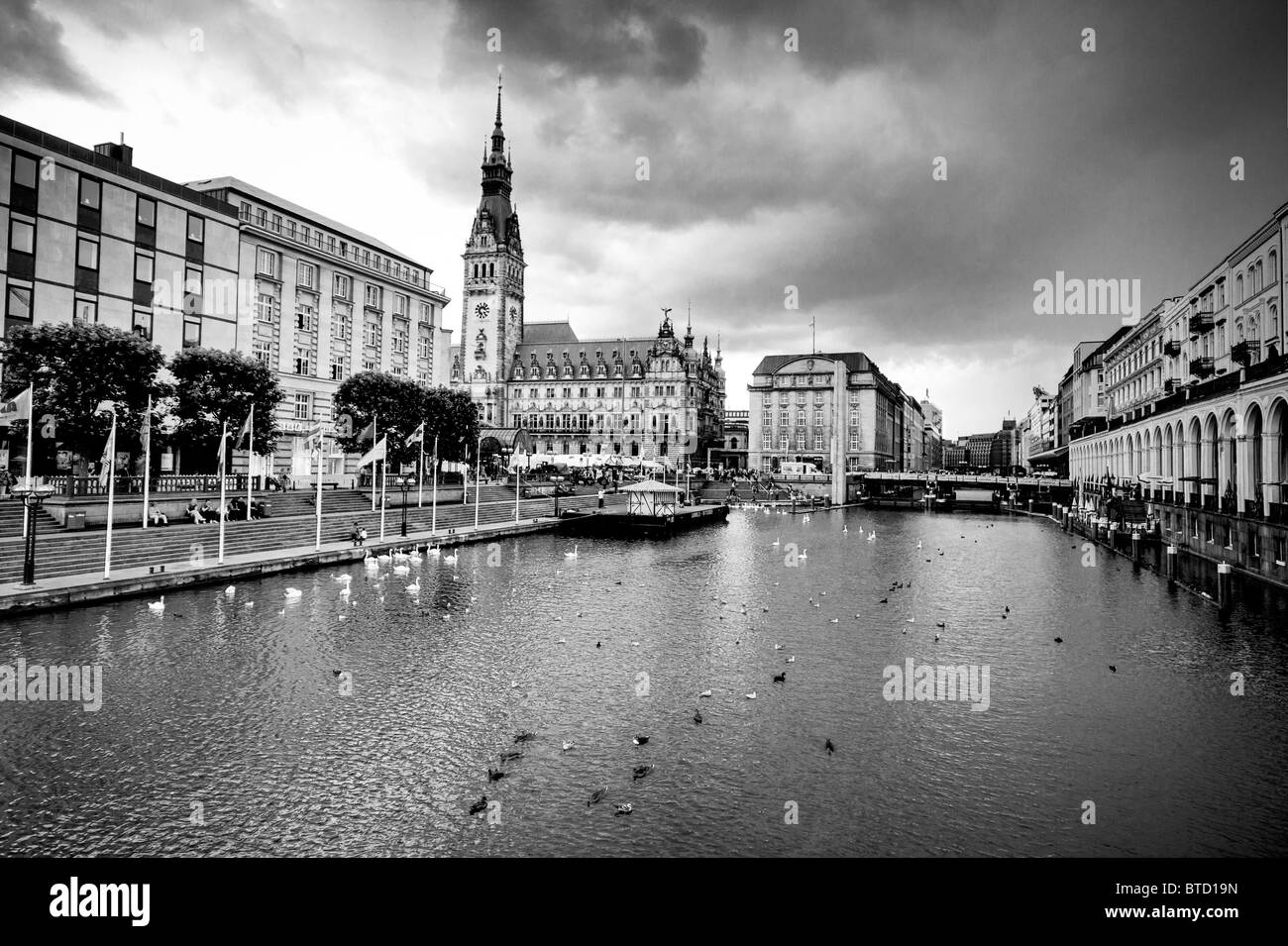 hamburg, germany, black&white picture town hall - Stock Image