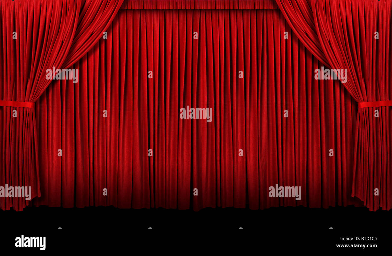 Large Red theater curtain with lights and shadows - Stock Image