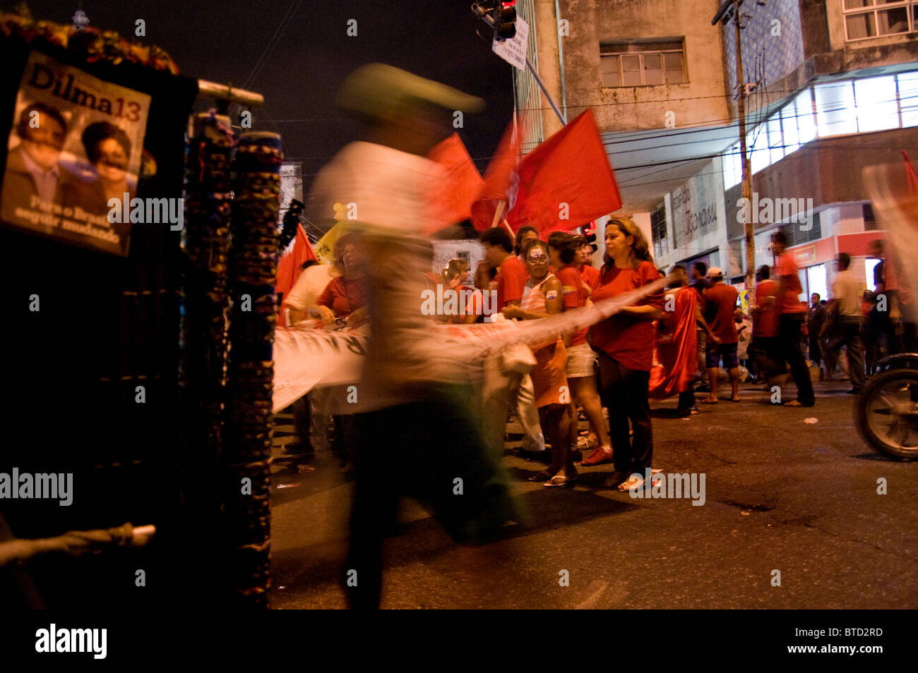 March and campaign in Recife Brazil  prior to presidential election of Dilma Vana Rousseff 22.10.10 - Stock Image