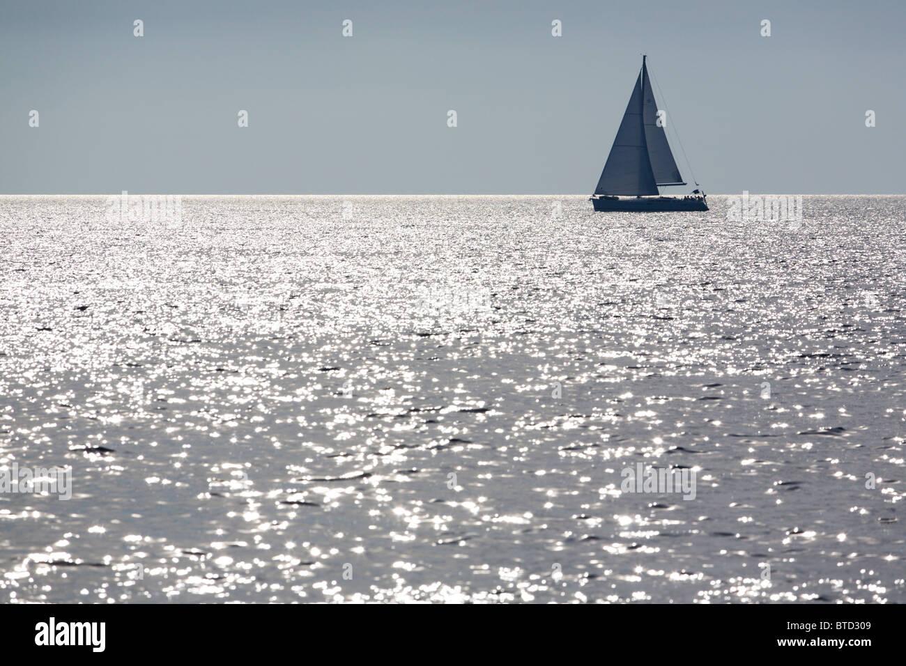 Lone yacht - Stock Image