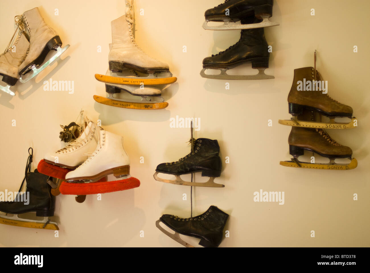 Ice skates on display in the Ketchum Sun Valley Ski Museum, Idaho - Stock Image