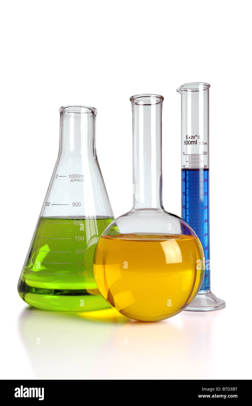 Laboratory glassware with reflections on table isolated over white background - With clipping path on glass - Stock Image