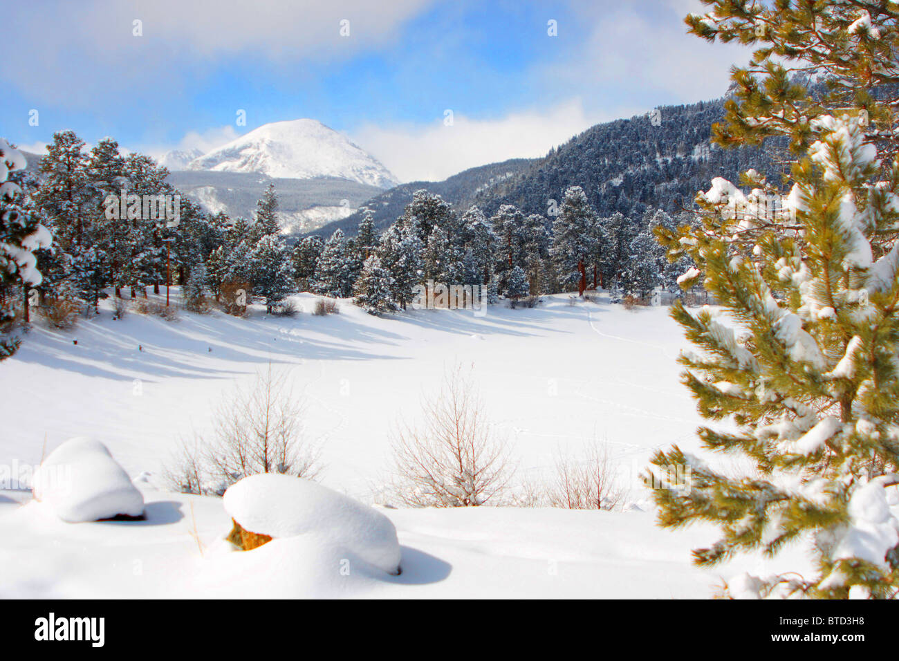 Snow scene in the mountains Estes Park Colorado - Stock Image
