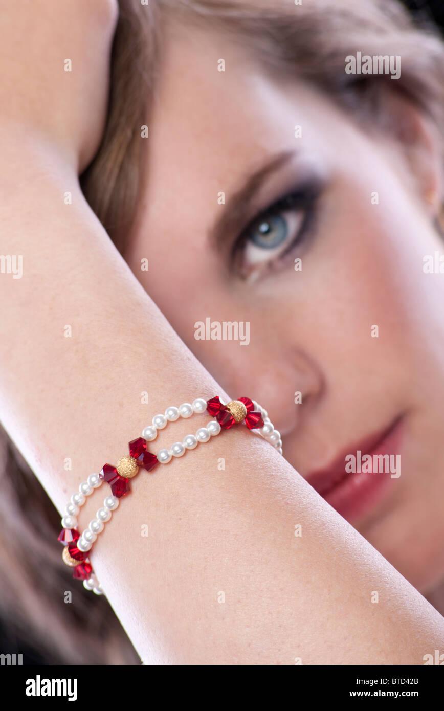 woman wearing jewellery Stock Photo
