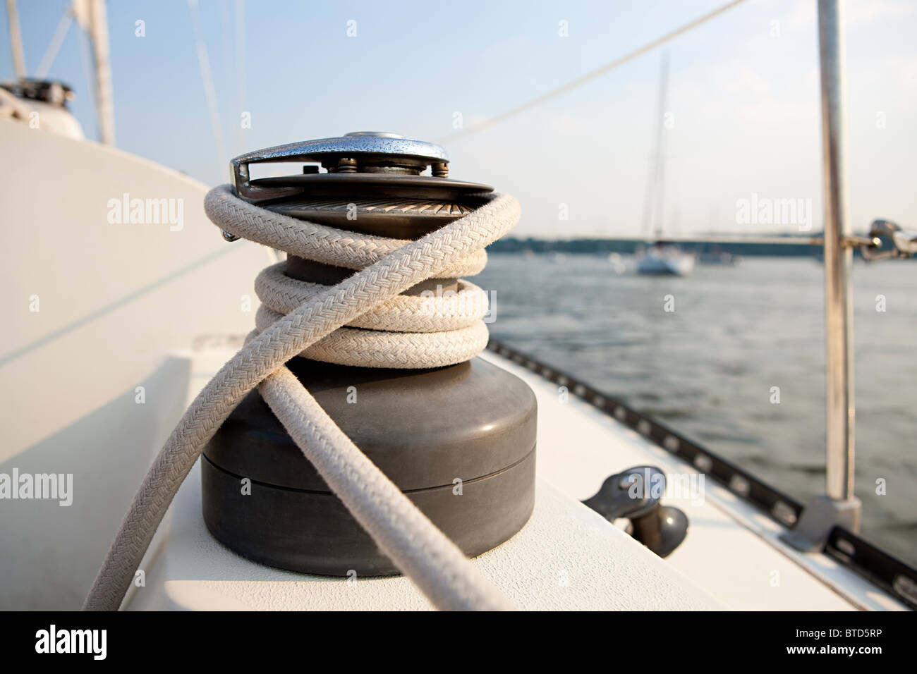 Rope on yacht, close up - Stock Image