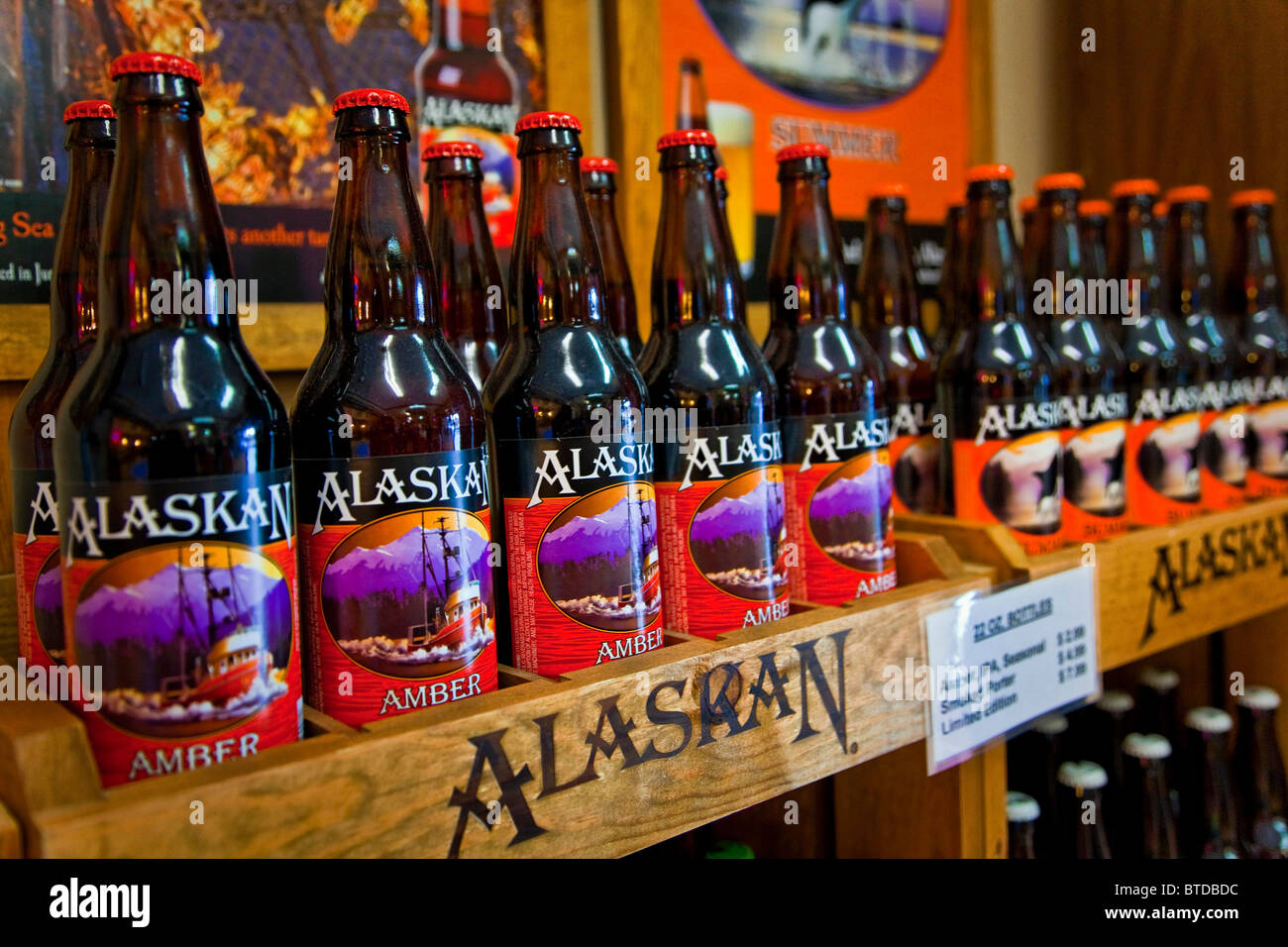 close up of the gift shop beer display at the alaskan brewing company stock photo 32256488 alamy. Black Bedroom Furniture Sets. Home Design Ideas