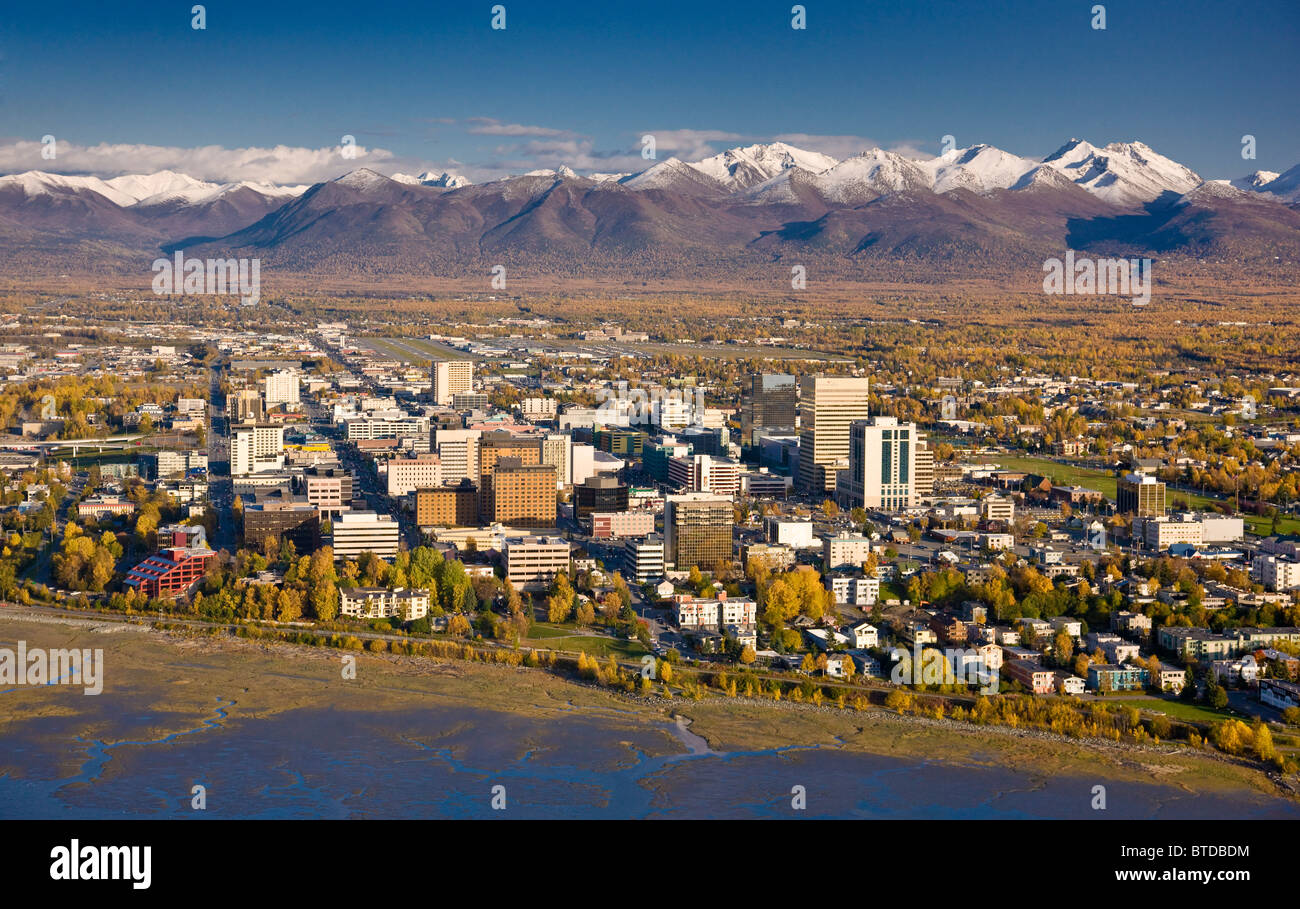 Aerial view of the Anchorage skyline looking south over Knik Arm during Fall, Alaska - Stock Image