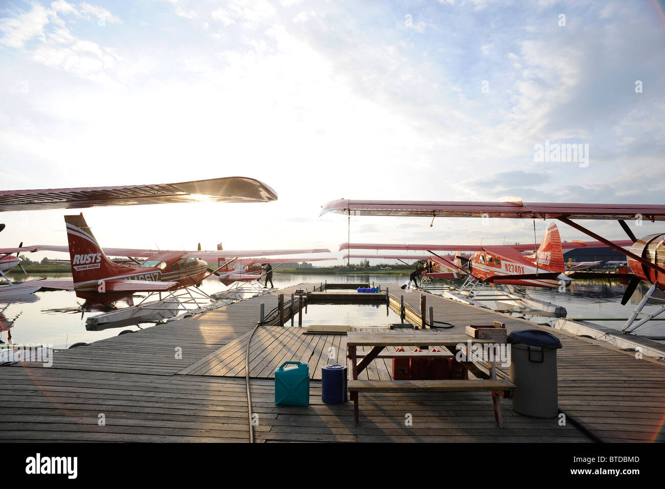 Group of Rust's Flying Service DeHavilland Beaver's docked on Lake Hood in Anchorage, Southcentral Alaska Stock Photo