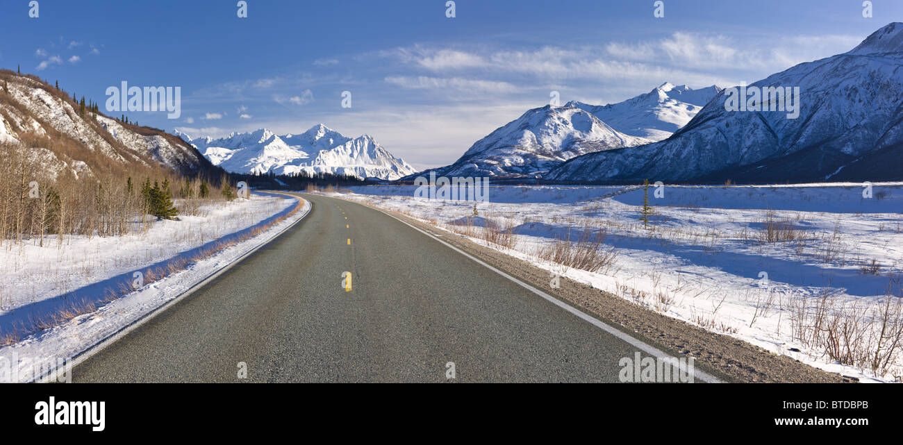 Daytime view of the Richardson Highway along the Delta River just before heading into the Alaska Range, Interior - Stock Image