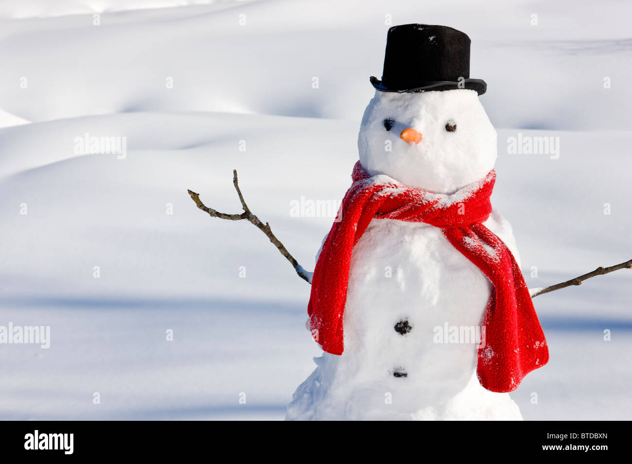 Snowman with a red scarf and black top hat sitting next to a snow covered river bed, Southcentral Alaska, Winter Stock Photo