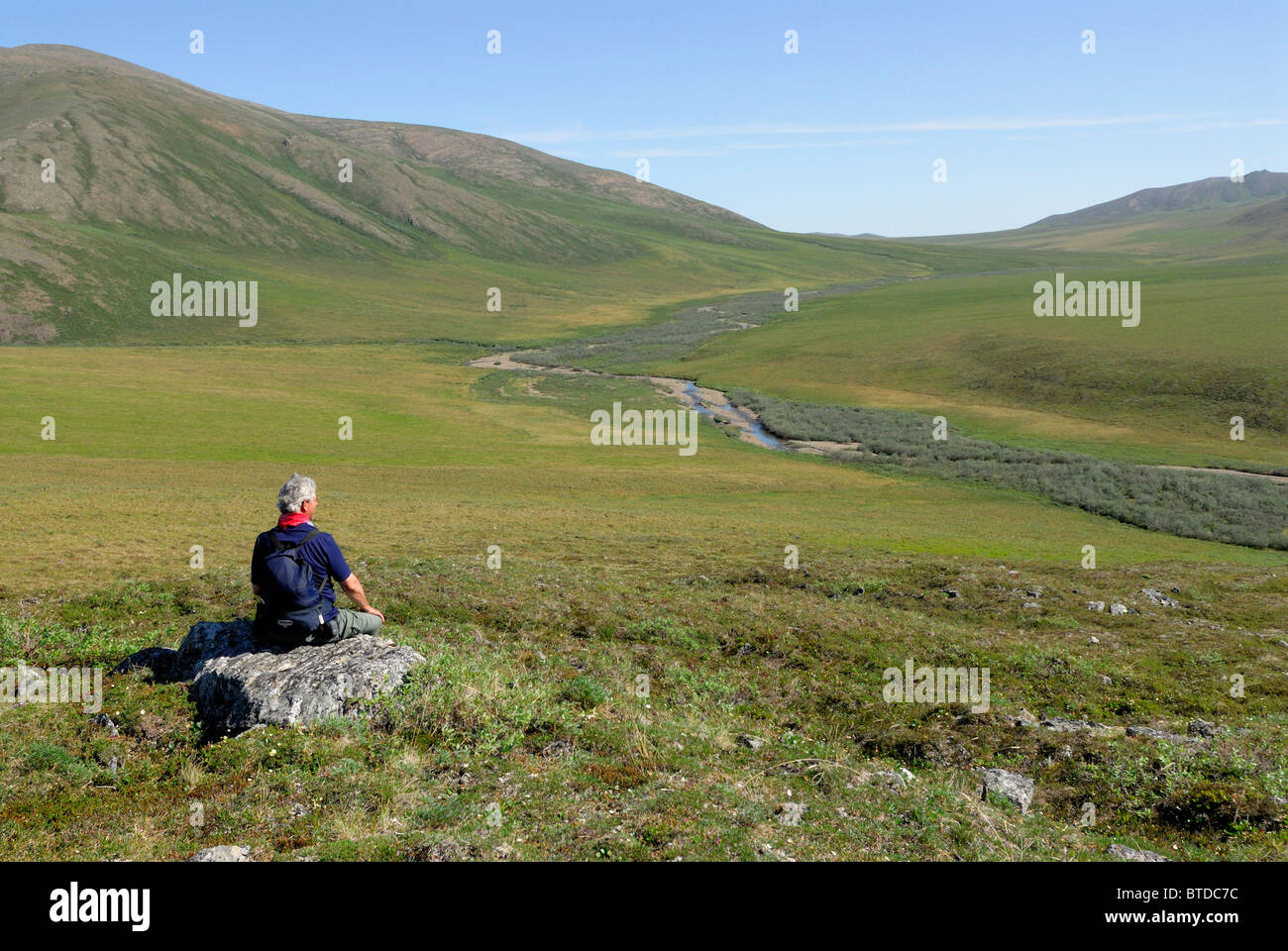 Senior male hiker resting on a rock outcrop enjoying the scenic view of tundra at Caribou Pass, ANWR, Arctic Alaska, - Stock Image