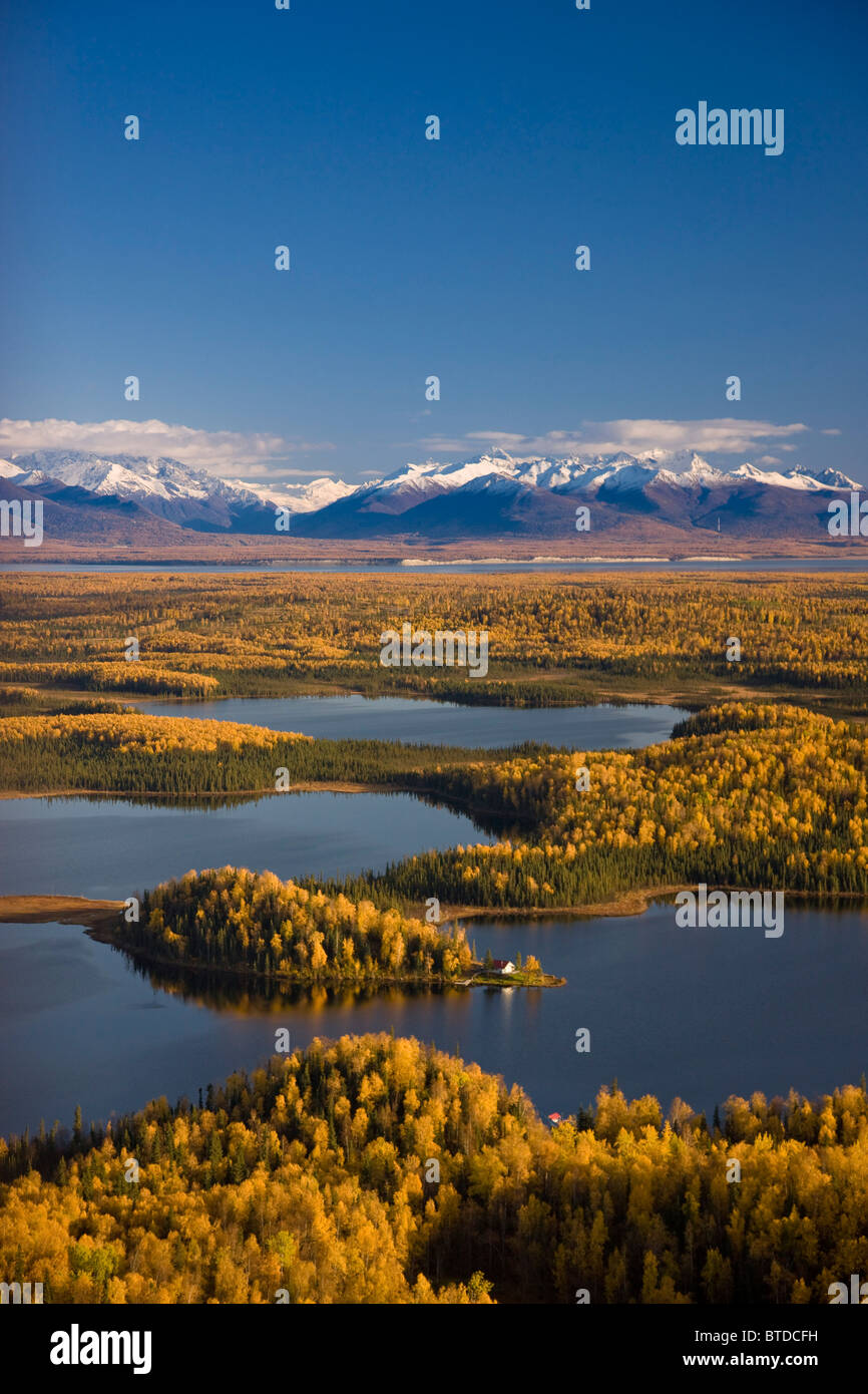 Aerial View of the lakes and Birch forests at Point Mackenzie across from Anchorage, Chugach Mountains, Alaska - Stock Image