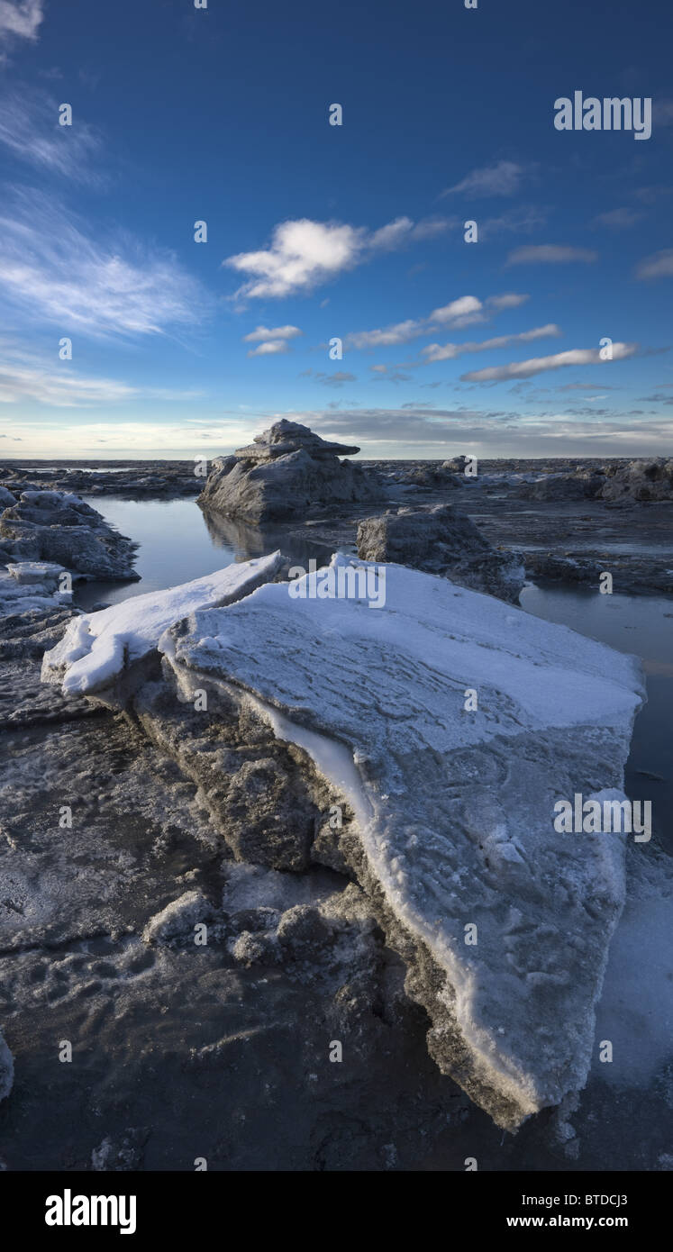 Stranded ice floes at low tide on the Turnagain Arm, Southcentral Alaska, Winter - Stock Image