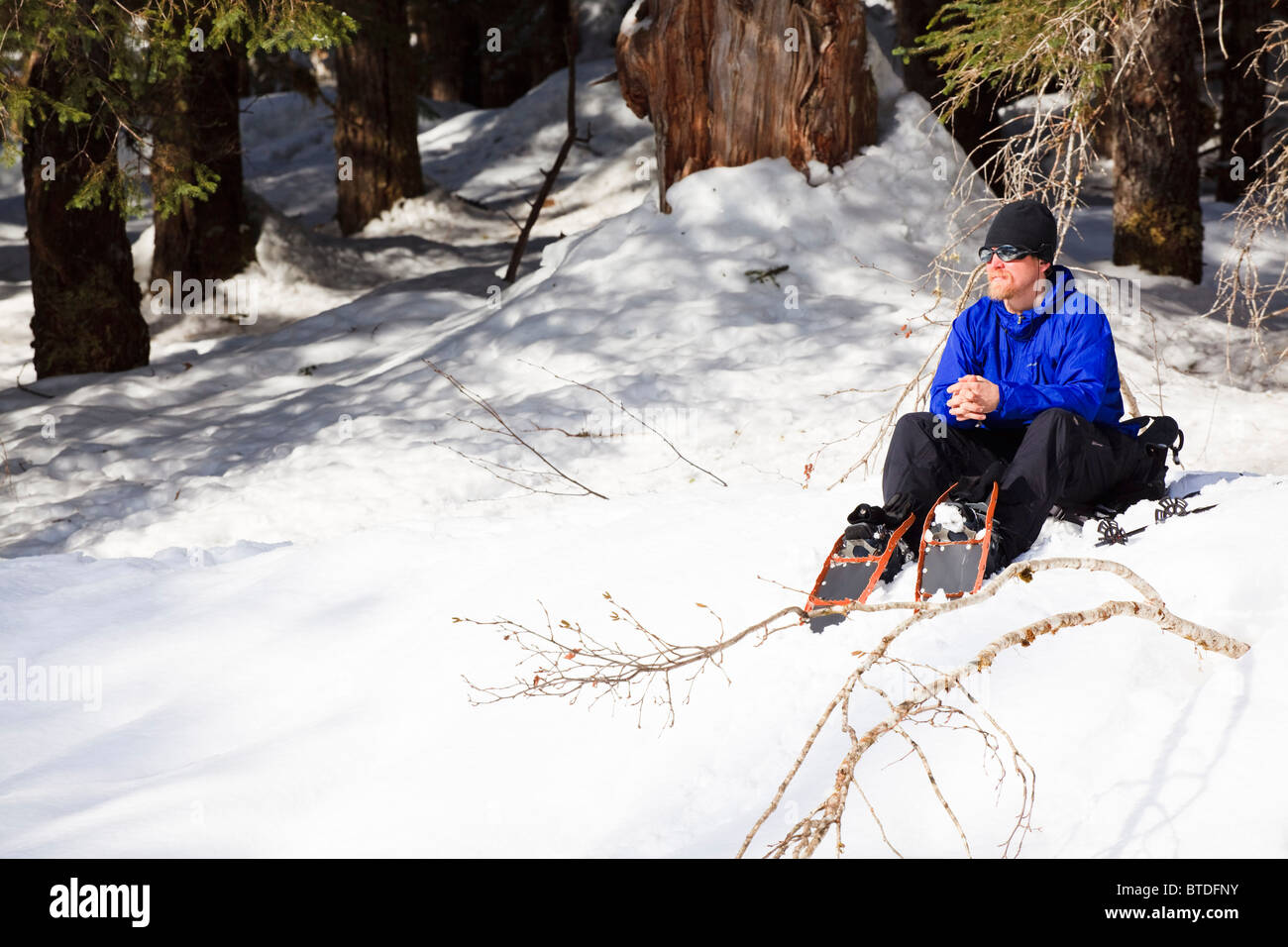 Man snowshoeing rests on the bank of Andrews Creek in the sun, Tongass National Forest in Stikine-LeConte Wilderness, - Stock Image