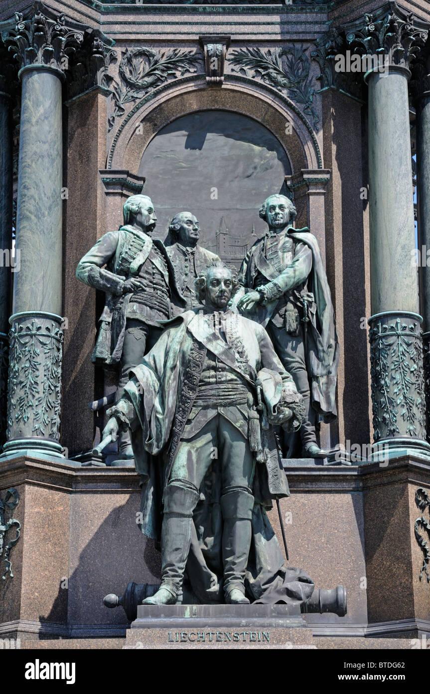 Vienna, Austria. Maria Theresien Platz. Monument to Maria Theresa. Prince / Furst Wenzel von Liechtenstein Stock Photo