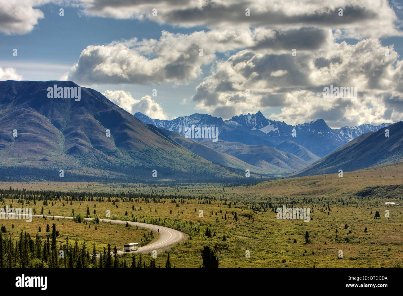 View of the park road and the before Savage River Denali National Park Interior Alaska Summer HDR image. - Stock Image