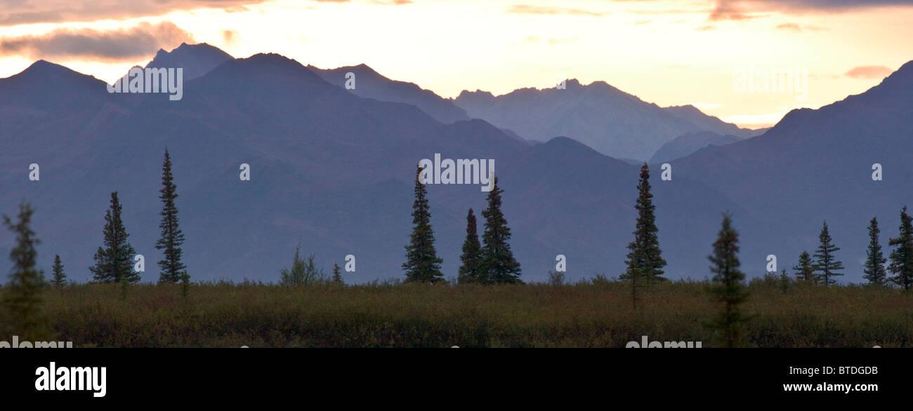 Sunset over the Alaska Range near Mile 7 of the Park Road in Denali National Park and Preserve, Interior Alaska, - Stock Image