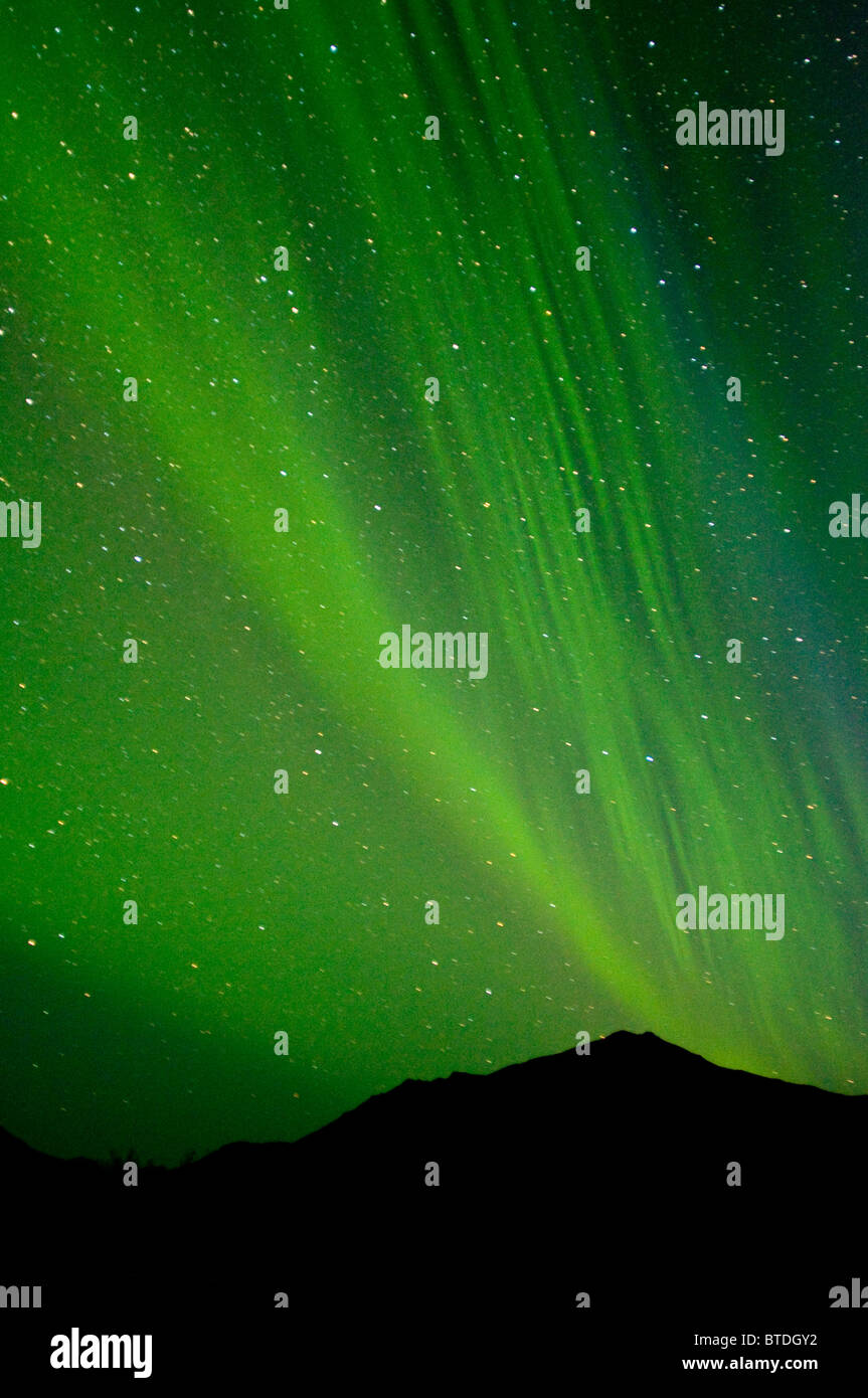 View of the Aurora Borealis over the Noatak River in Gates of the Arctic National Park and Preserve, Arctic Alaska, - Stock Image
