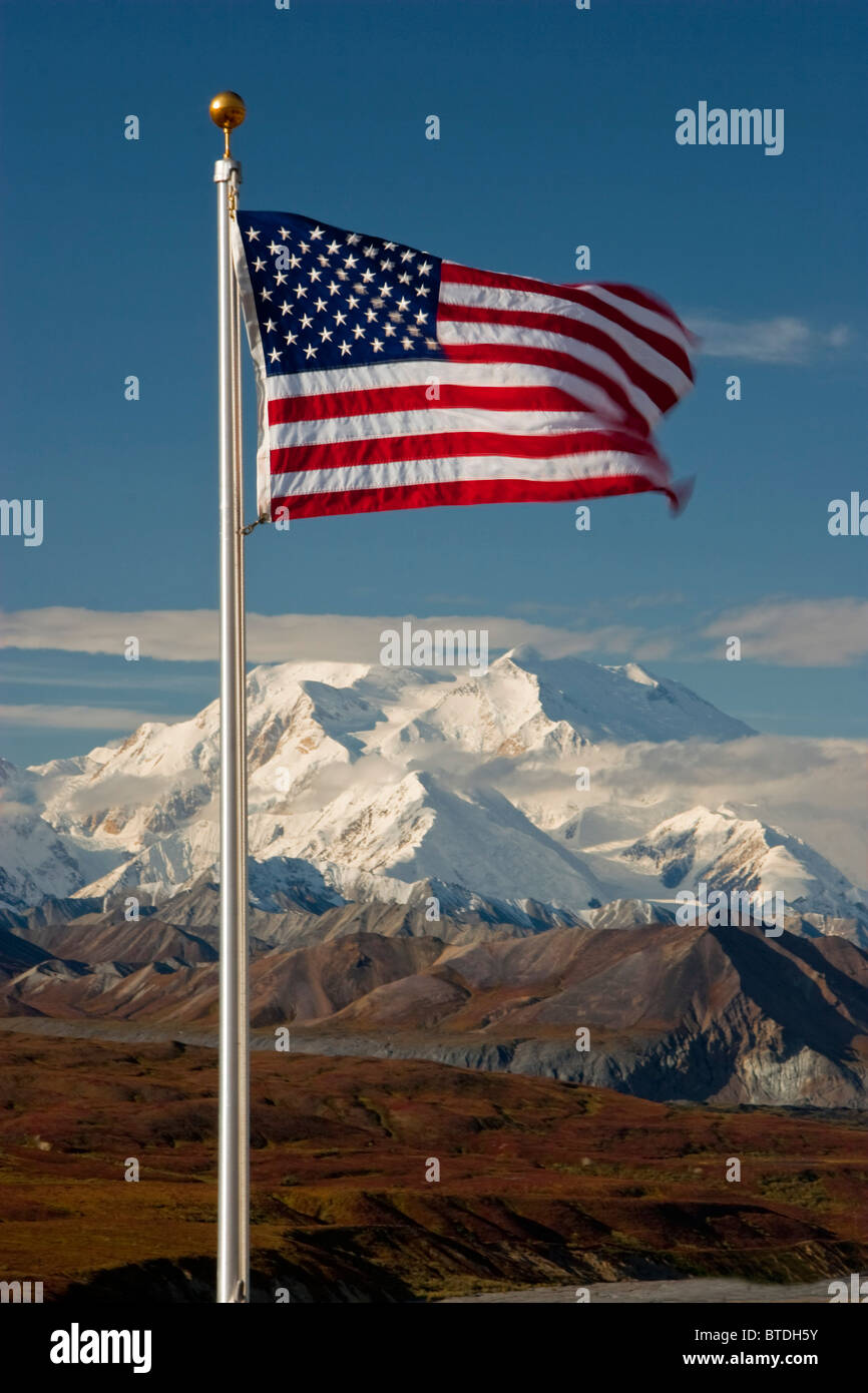 View of American Flag with Mt. McKinley in the background, Denali National Park, Interior Alaska - Stock Image