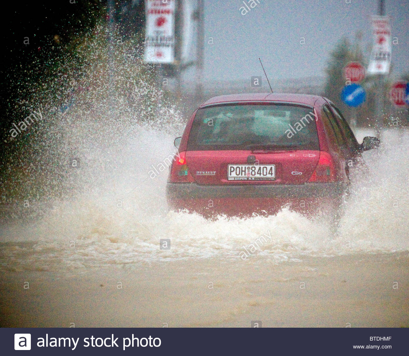 Heavy Rain Flooded Roads In Some Parts Of Greece Stock Photo