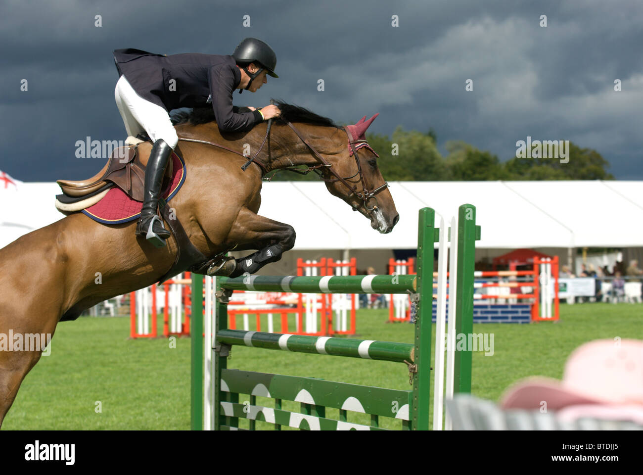 Show Jumping at the Edenbridge and Oxted Agricultural Show Lingfield Surrey - Stock Image