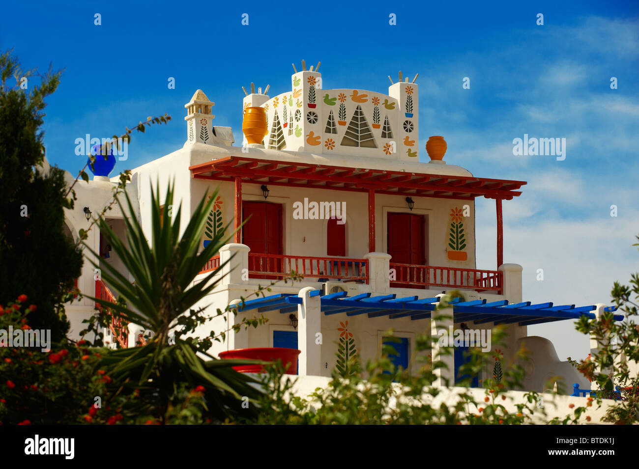 House decorated with traditional folk art. Mykonos, Cyclades Islands, Greece. - Stock Image