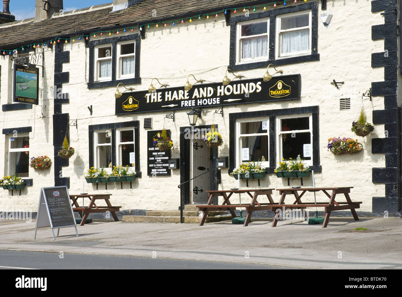 The Hare and Hounds pub in the village of Lothersdale, North Yorkshire, England UK - Stock Image