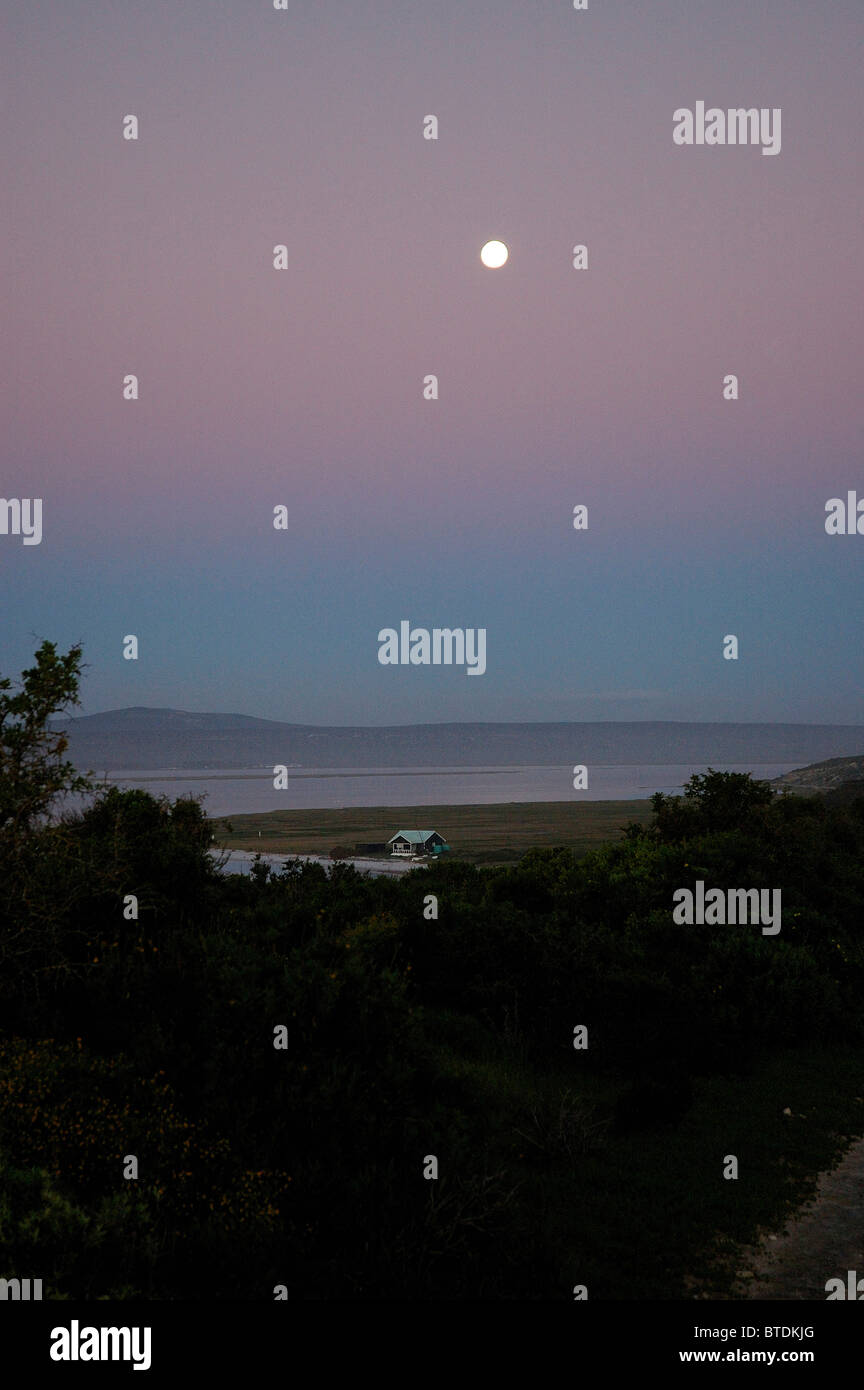Full moon over Churchaven - Stock Image