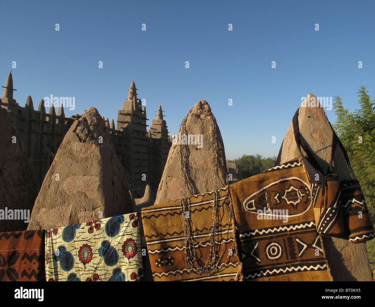 Traditional mud-cloth fabric (bogolan) for sale at the Djenne market - Stock Image