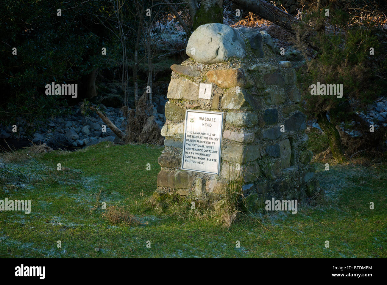 National Trust donation box at Wasdale Head, Lake District National Park, Cumbria, England UK - Stock Image