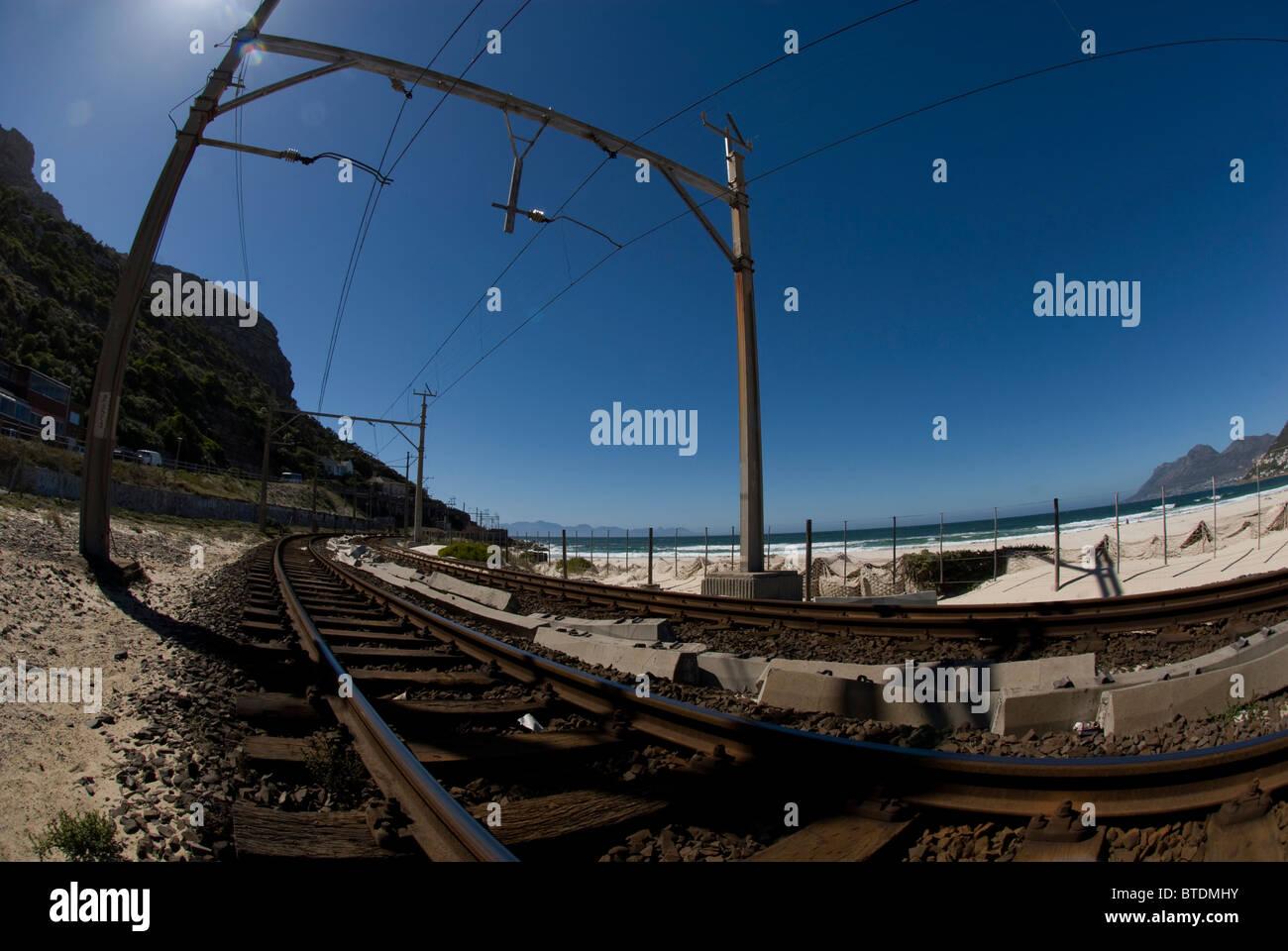 Fish-eye view of railway tracks - Stock Image