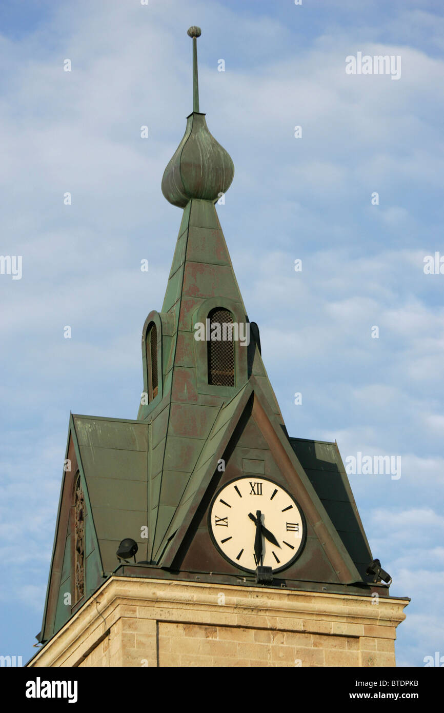 A copper Church steeple covered in green patina - Stock Image