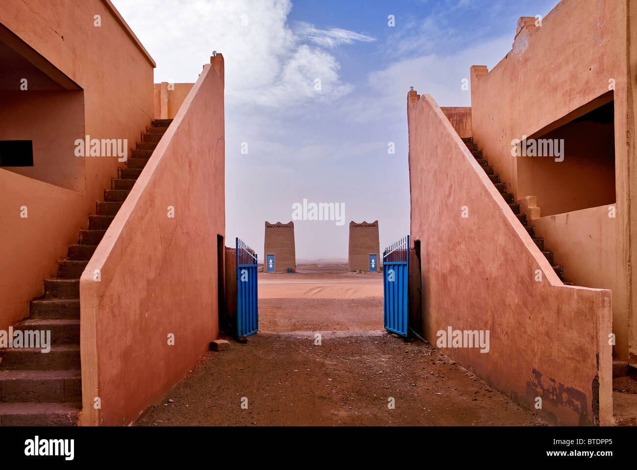 Dual staircases leading to the top of a Moroccan Kasbah - Stock Image