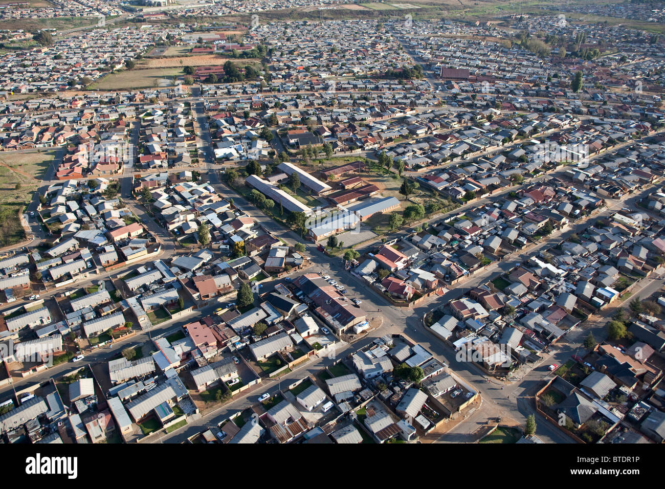 Aerial view of part of the sprawling township of Soweto - Stock Image