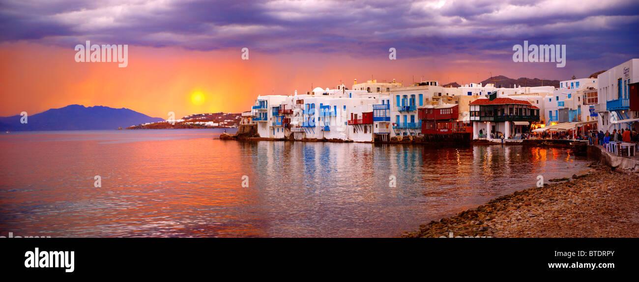Sunset over The Little Venice (Venetia) neibourhood of the Kastro District of Chora, Mykonos, Cyclades Islands, - Stock Image