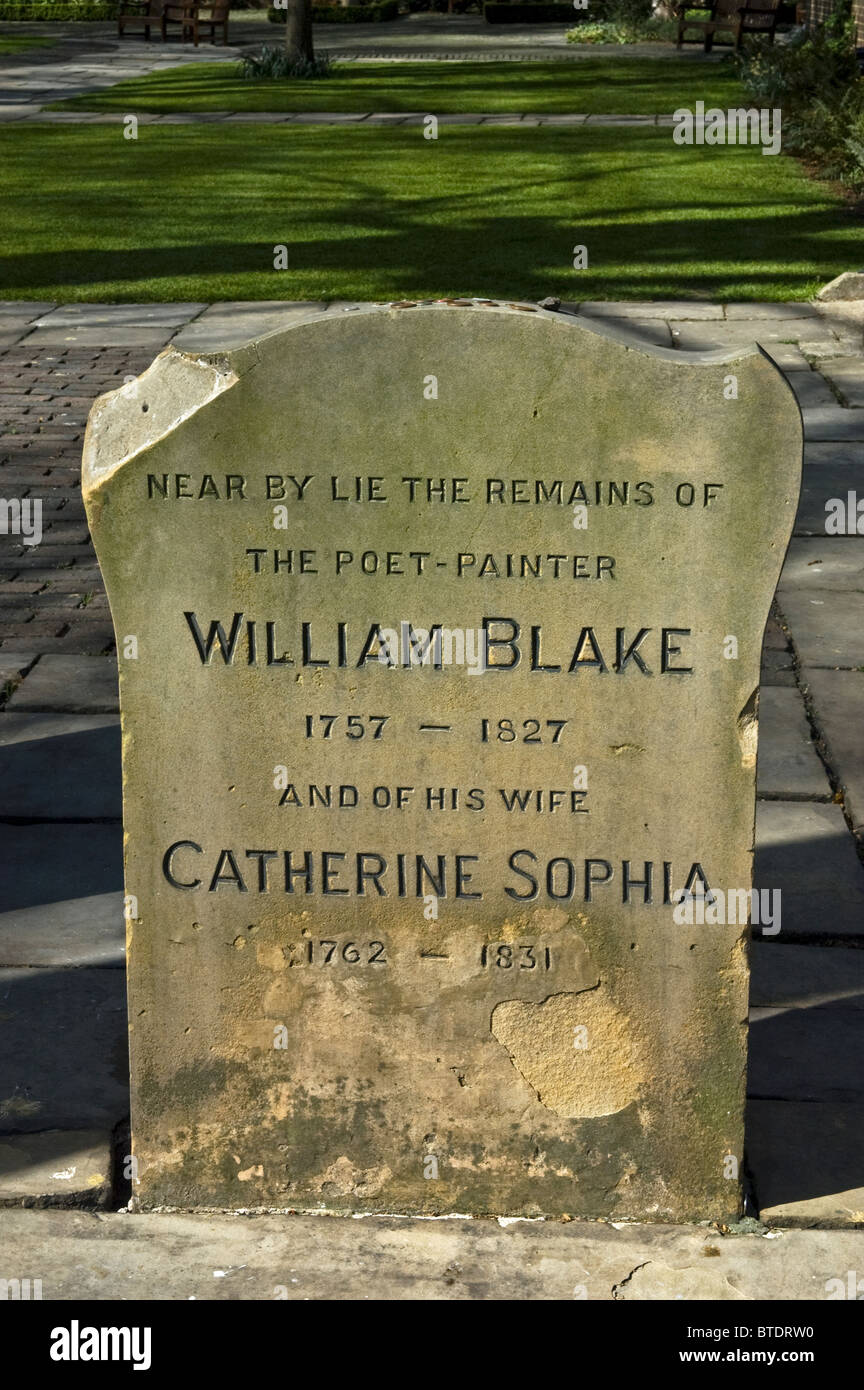 The grave of William Blake and wife Catherine Sophia. Bunhill Fields Burial Ground,London. - Stock Image