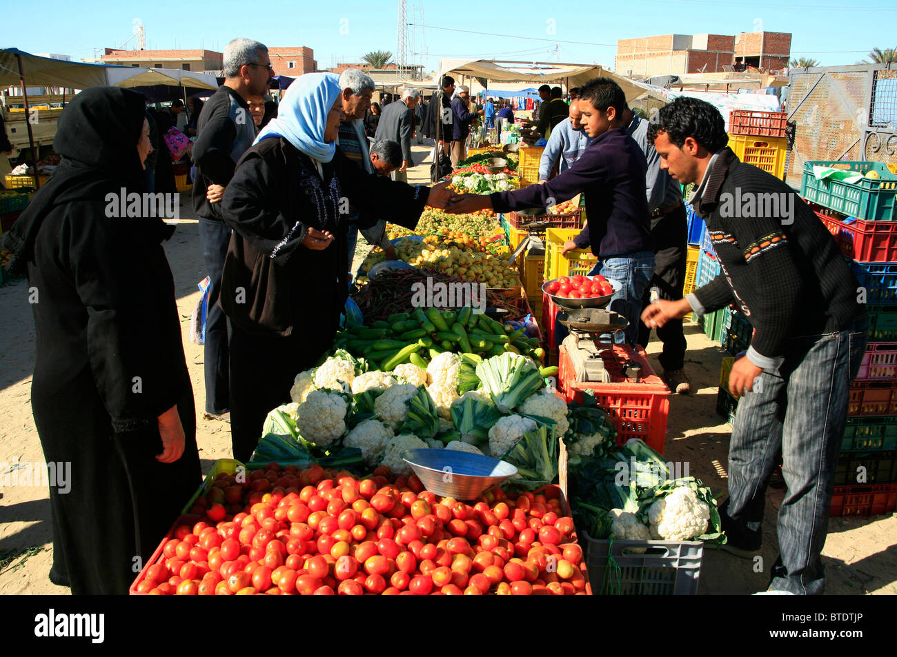 Muslim women buying fruit and vegetables at the local market - Stock Image