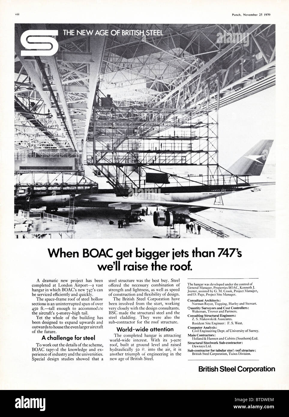 Advert for BSC British Steel Corporation in Punch magazine dated 1st December 1970 - Stock Image